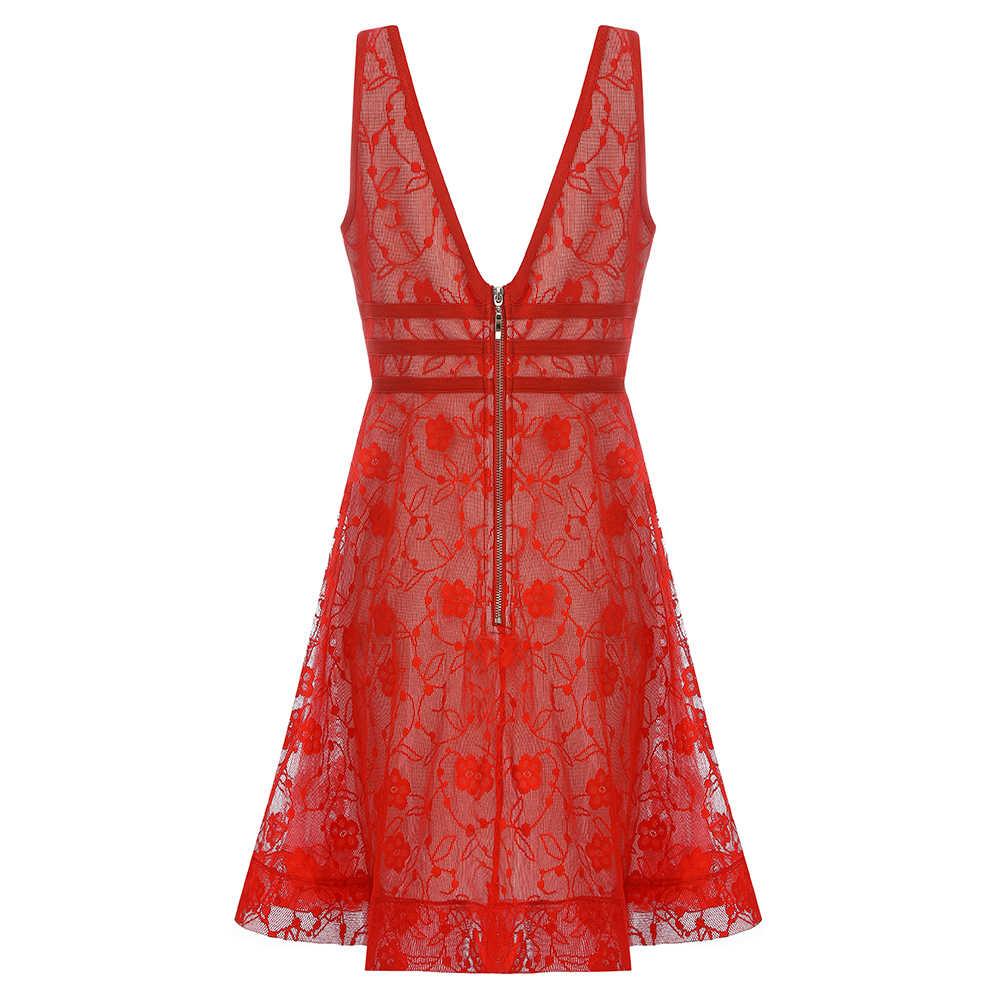 2019 nueva llegada vestido de noche de fiesta de encaje con cuello en v rojo vendaje al por mayor