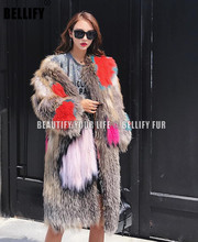 European and american Luxury Brand stylish Womens Long natural fox fur knitted coats outerwear plus size