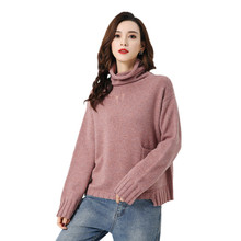 LHZSYY 2019Autumn Winter New Women 100% Pure Cashmere Sweater High Collar Thicken Large size Pullover Wild Warm Bottoming Shirt