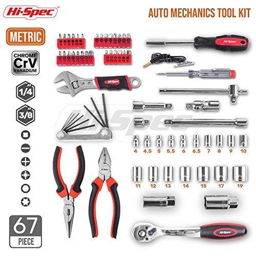 Hi-Spec 67pc ensemble d'outils à main métrique voiture Auto réparation automobile mécanique trousse à outils maison Garage clé à douille outils dans la boîte à outils - 3