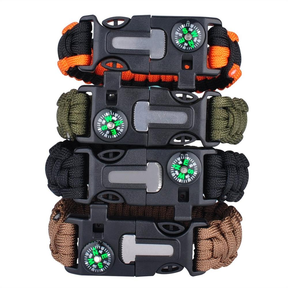 Outdoor Emergency Survival 550 Paracord Bracelet Whistles Scraper Compass Multi Functional Camping Hiking Parachute
