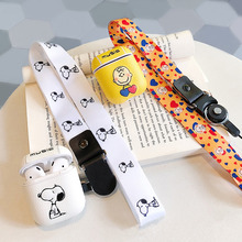 Japan Charlie dog neck lanyard case cover for apple airpods music wireless bluetooth earphone pu leather headset charging box i