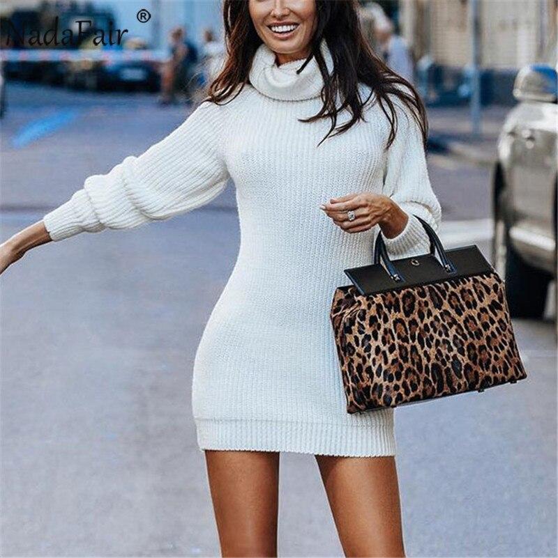 Nadafair White Turtleneck Sweater Dress Sexy Wrap Mini Autumn Long Sleeve Basic Slim Knitted Warm Winter Dress Women(China)