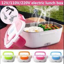 110V 220V Dual Use Home Car Heating Lunch Box Thermostat Food Warmer Container Mini Rice Cooker Food Warmer Bowl EU US Plug