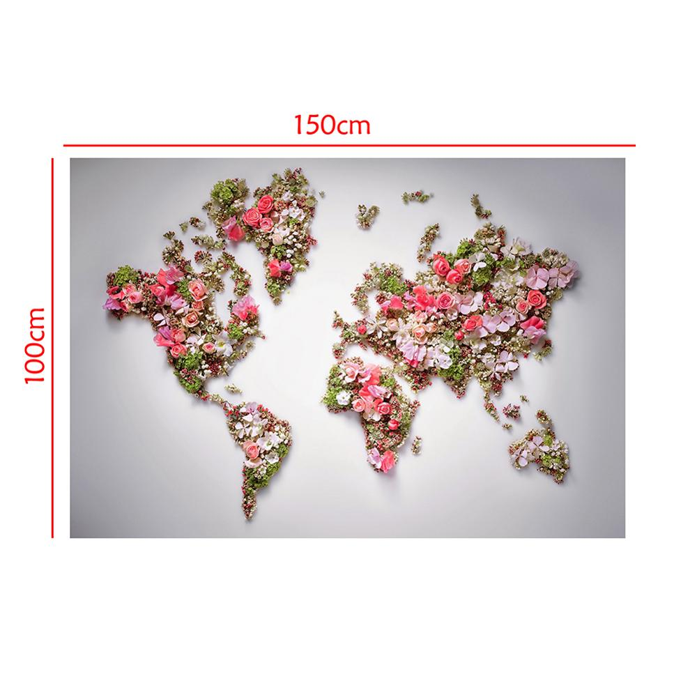 Image 2 - 150x100cm Non woven DIY World Map Plate Pattern Made With Beautiful Flower For Wall Decor    -