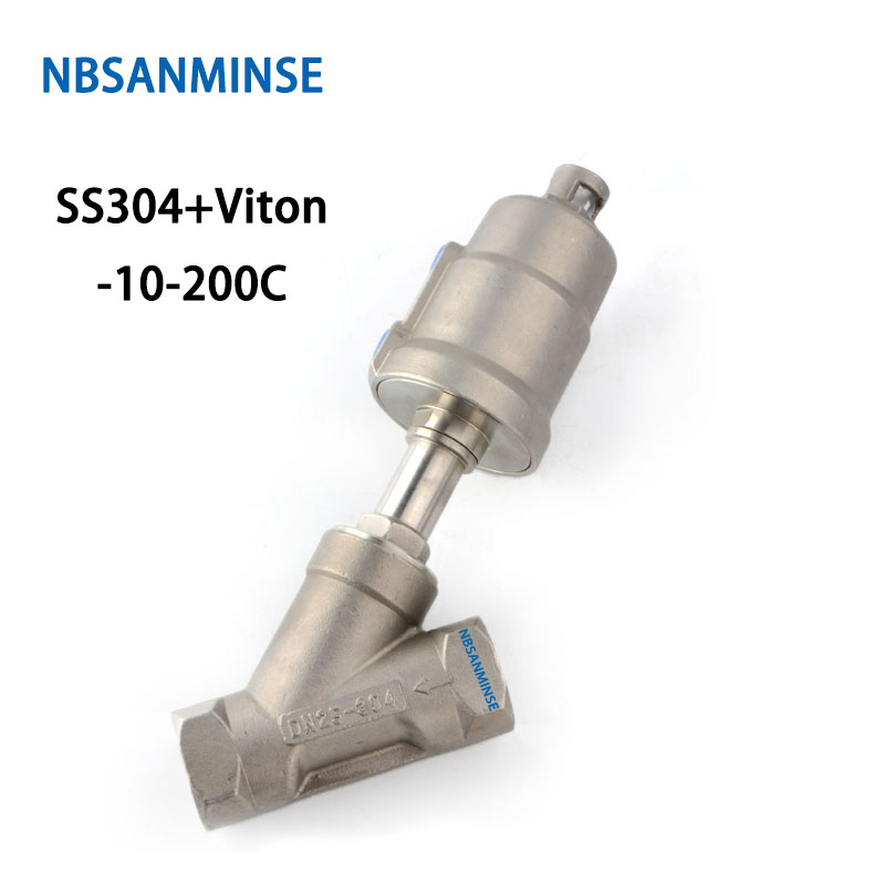 NBSANMINSE JDF 100S0NC-V 1-1/4 1-1/2 2 2-1/2 3 Pneumatic Angle Seat Valve With Viton NC SS304 Full body Stainless steel