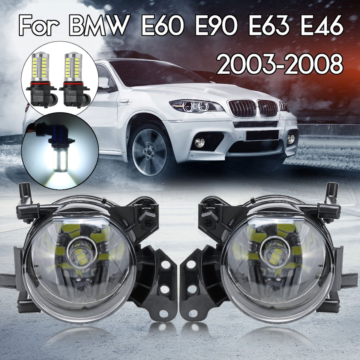 Pair Car <font><b>Front</b></font> Fog <font><b>Lights</b></font> LED HOD Xenon Bulb Fog Lamps Assembly Housing Lens For <font><b>BMW</b></font> E60 <font><b>E90</b></font> E63 E46 323i 325i 525i image