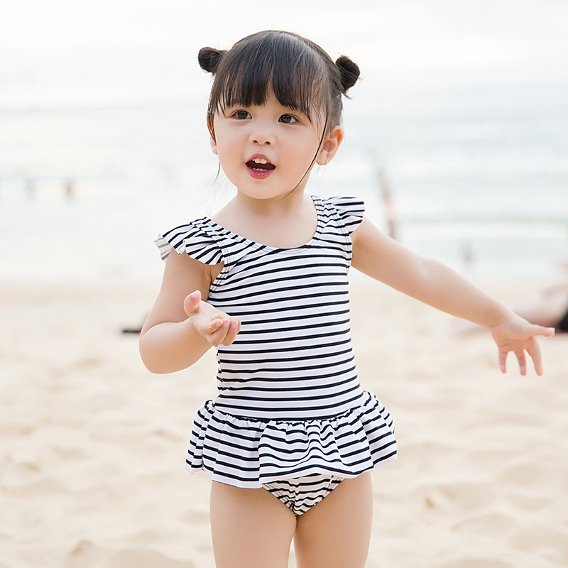 2019 GIRL'S Swimsuit Childrenswear New Style Summer Princess One-piece Black And White With Pattern KID'S Swimwear GIRL'S Baby S