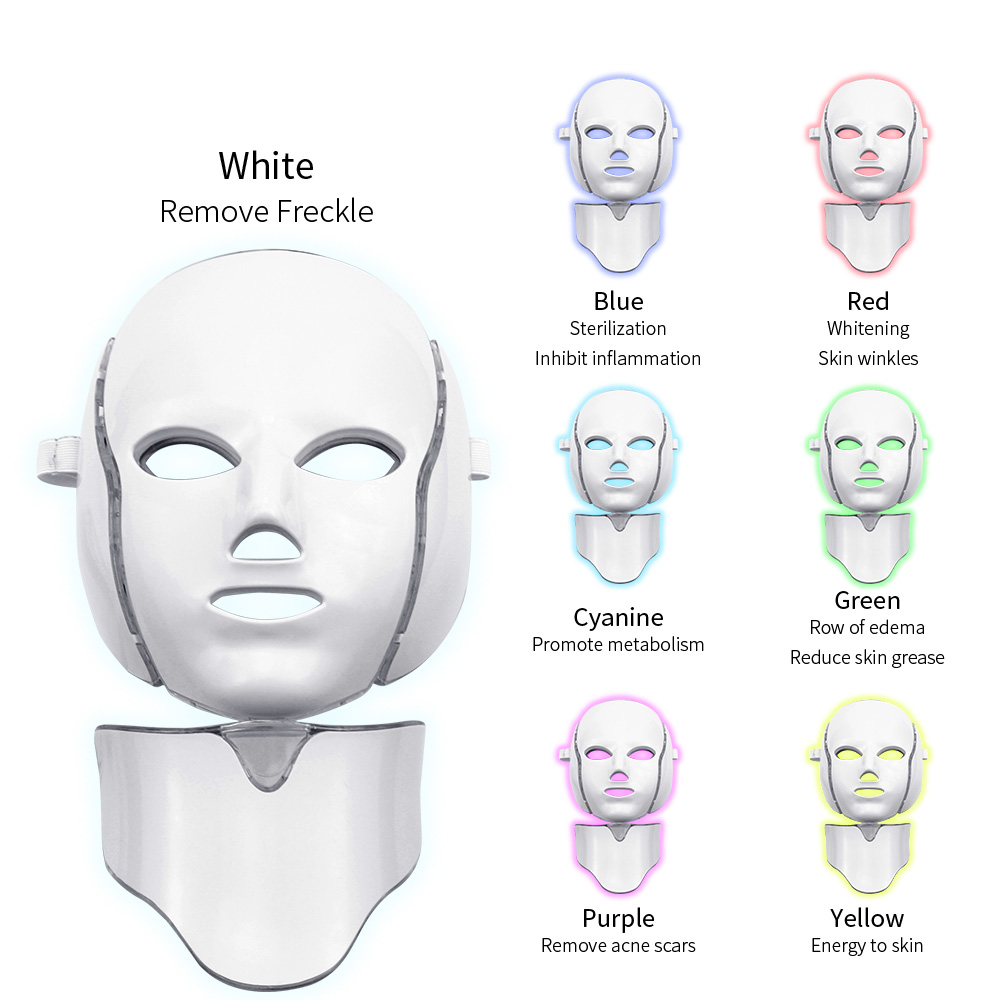 7-Color Electric LED Facial Mask And Neck Machine Photon Therapy Beauty Anti-acne Treatment Whitening Device LED Mask Neck Skin