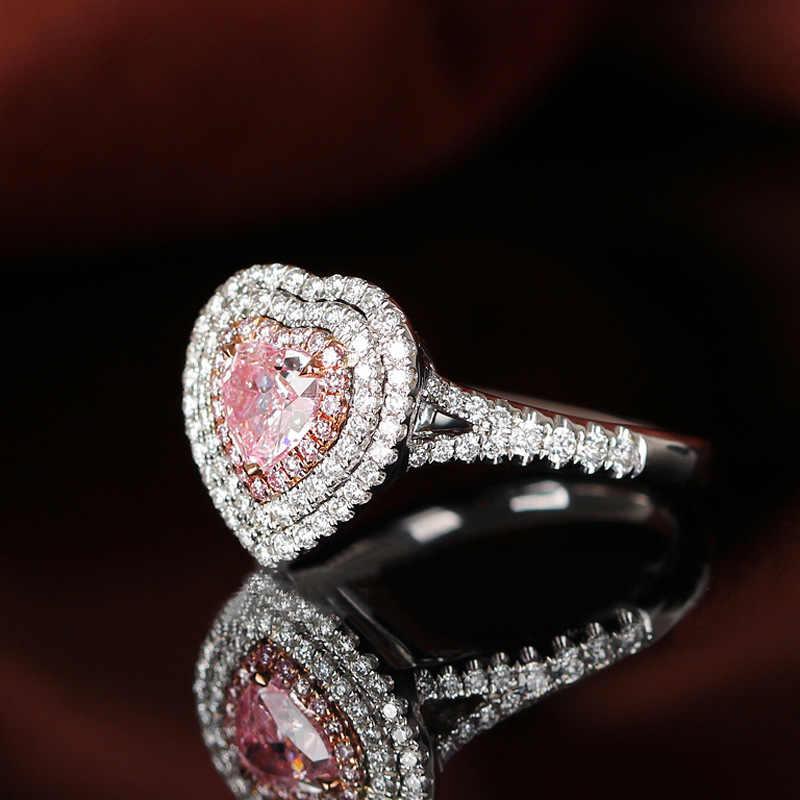Wong Chuva Romântico Bonito 100% 925 Sterling Silver Pink Sapphire Gemstone Anel de Noivado de Diamantes de Casamento Finas Jóias Por Atacado