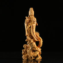 CCZHIDAO Dragon Guanyin 16CM Chinese Boxwood Bodhisattva Solid Wood Living Room To Buddha Carving Home Ornaments