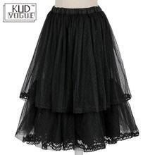 Черная двухслойная винтажная сетчатая Нижняя юбка в стиле Лолиты для девочек, юбка-пачка средней длины с капюшоном, женские слипоны