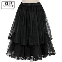 Girls Black Double Layered Vintage Net Petticoat Underskirt Lolita Skirt Midi Hoopless Tutu Skirt Slips For Women Junior Women