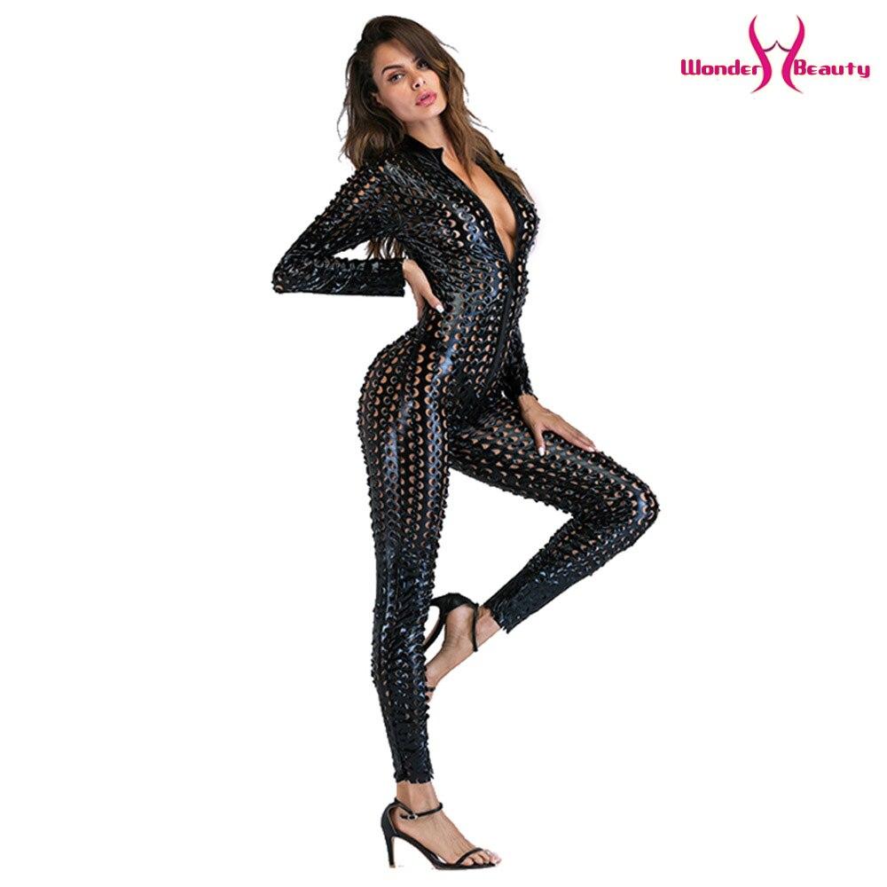 wetlook catsuit pu faux leather jumpsuit zentai costume women zipper front hollow out hole pole dance nightclub vinyl bodysuit (36)