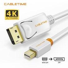 Cabletime mini porta de exibição para exibir cabo de porta mini dp para dp thunderbolt para dp 4k cabo para macbook superfície pro n024