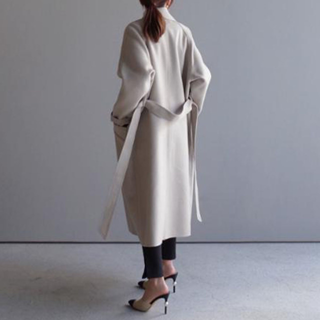 Winter Beige Elegant Wool Coat Women Korean Fashion Black Long Coats Vintage Minimalist Woolen Overcoat Camel Oversize Outwear 3