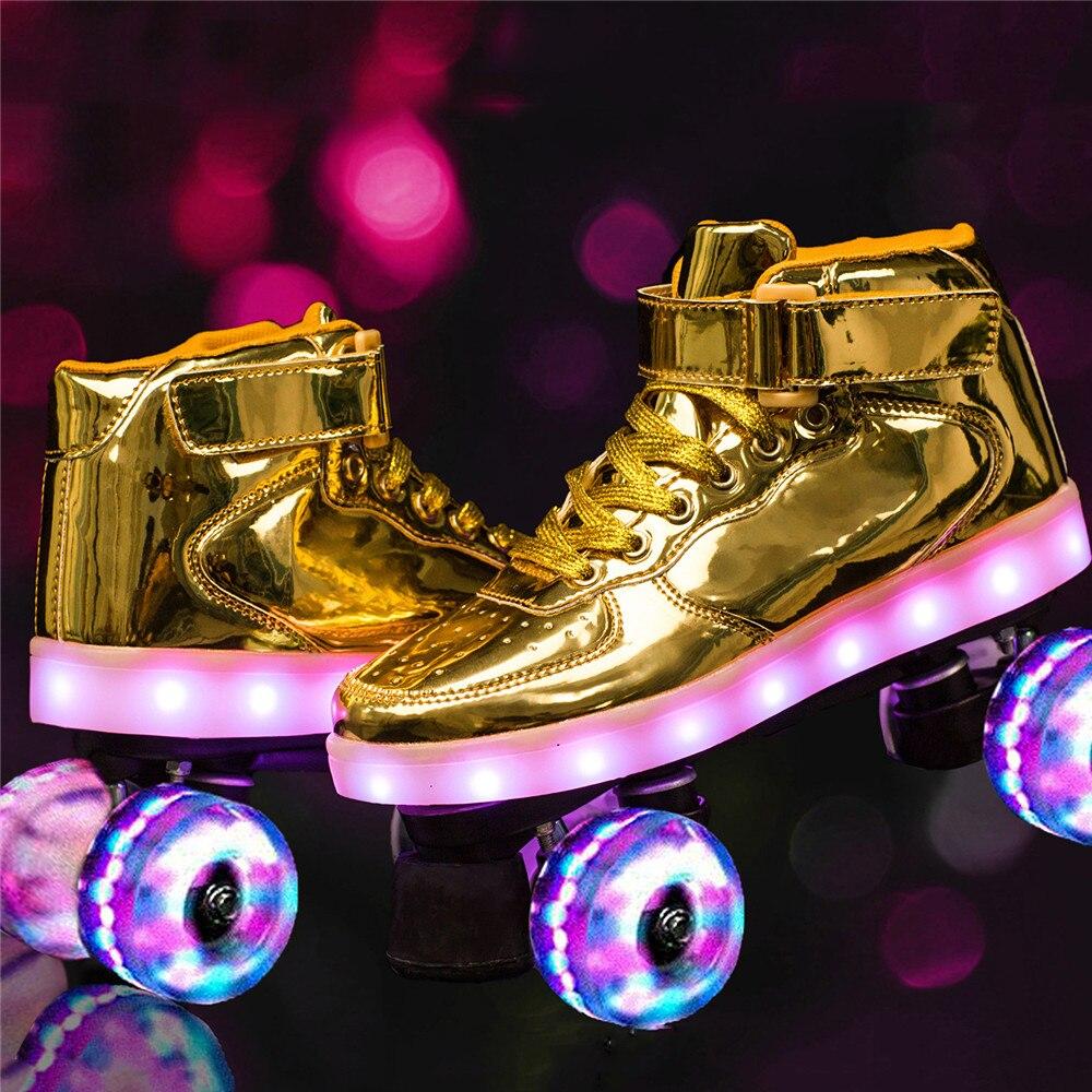 2020 nouveau Flash Skate adulte Double rangée poulie chaussures hommes femmes 4 roues PU enfants lumineux patins à roulettes