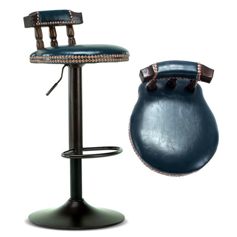 Bar Stool Solid Wood Bar Chair Lift Rotating Bar Stool Retro Front High Stool American Bar Chair