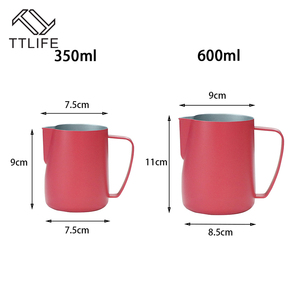 Image 5 - Jarra de leche TTLIFE de 0,3 a 0,6 l, jarro de espuma de acero inoxidable, jarro de espuma con forma de flor, Espumador de café y leche, herramienta artística para leche, cafetera de gomaespuma