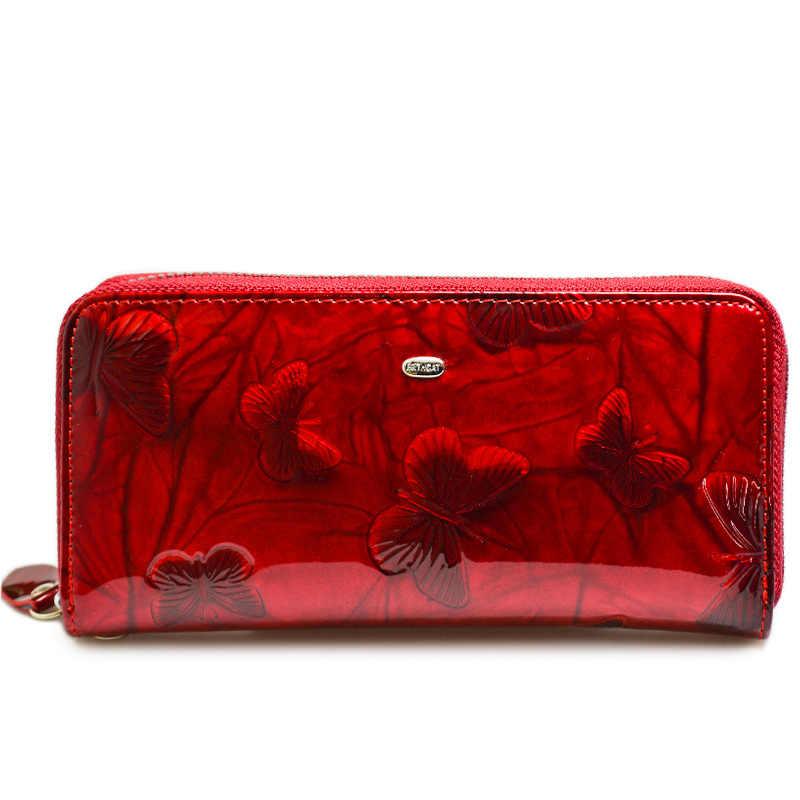 Женский кошелек из натуральной кожи с принтом бабочки, Карманный Кошелек на запястье, женские удлиненные кошельки на молнии, Женский монетница клатч, сумка