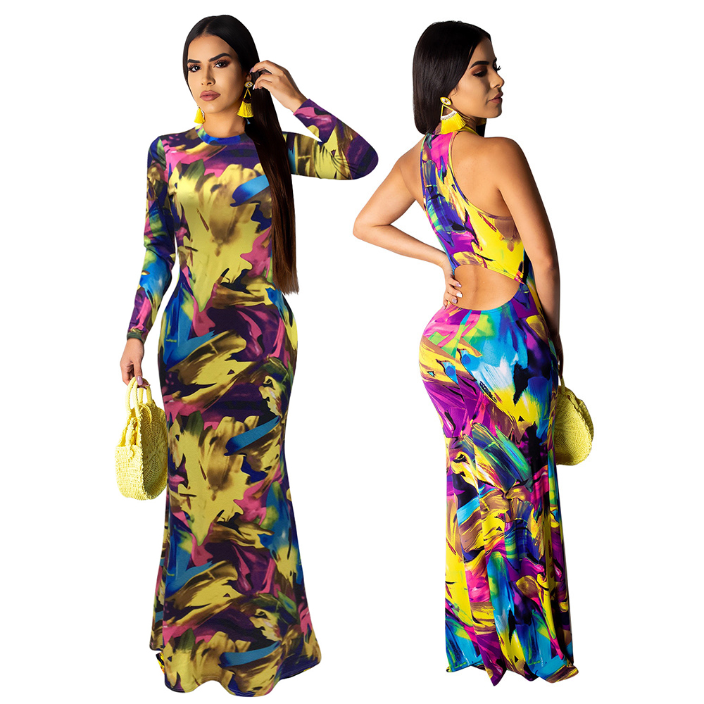 Sexy femmes robe longue élégant multicolore femme Sundress/manches longues été automne fête Maxi robes chaîne Vestido De Festa
