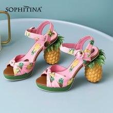 Sophitina/Новинка; Женские босоножки с необычным принтом ананаса;