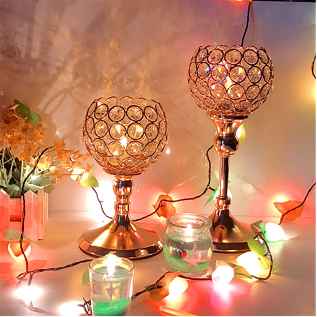 Crystal Tealight Candle Holders Metal Glass Candlesticks Wedding Table Centerpiece Party Christmas Home Decoration 6