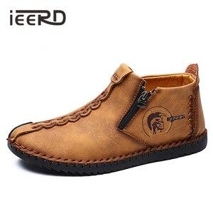 Image 1 - Mocasines clásicos cómodos para hombre, zapatos muy cálidas de invierno, de cuero partido, informales, de talla grande