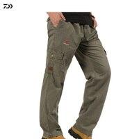 Luźne spodnie Daiwa wiosna oddychające spodnie wędkarskie mężczyźni stałe szybkie suche ubrania rybne turystyka utrzymuj ciepły zamek odzież wędkarska w Połowów spodnie od Sport i rozrywka na
