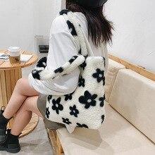 Handbag Tote-Bags Faux-Fur Furry Plush Flower-Pattern Female Winter Fashion Women Fluffy