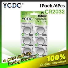 6個ycdcオリジナルリチウム電池cr2032 3vボタン電池コイン電池を腕時計コンピュータリモコンcr 2032 DL2032 5004LC