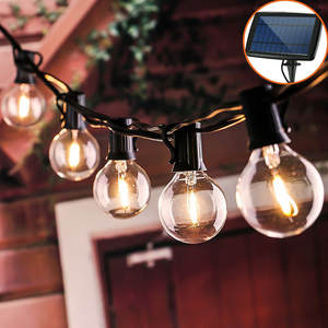 Led-Bulbs Light Hanging Patio Solar-String Clear Backyard Vintage Outdoor Waterproof