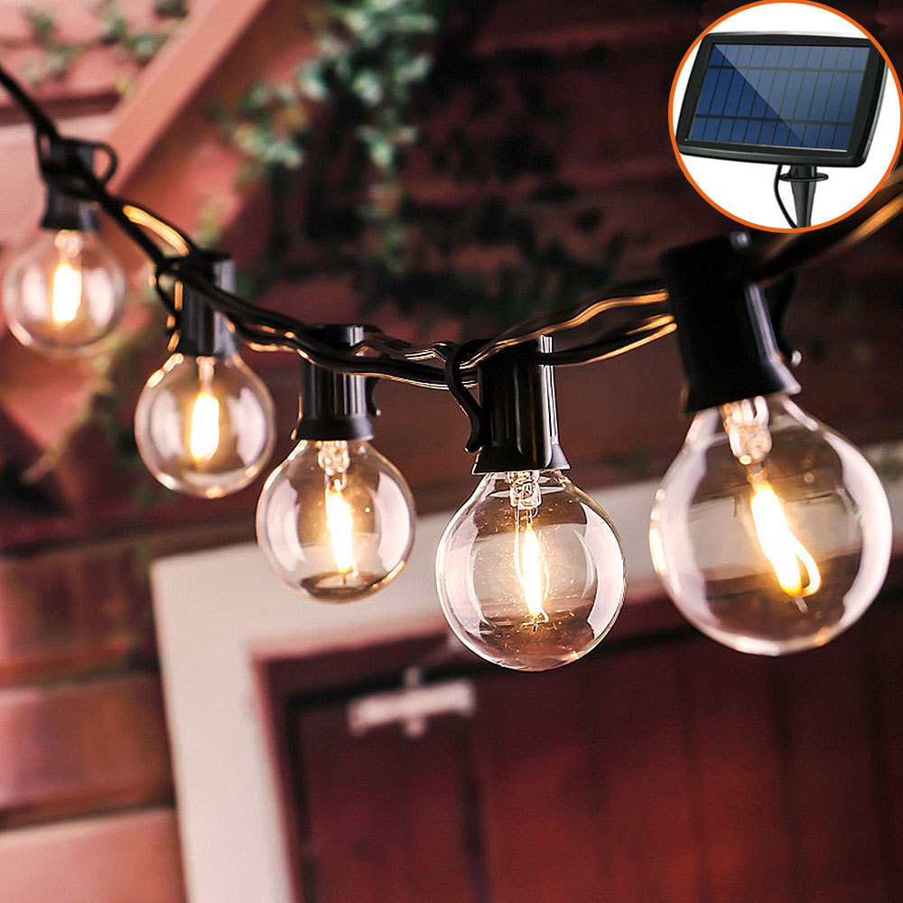 10/12/25LED Clear LED Bulbs Solar String Light Outdoor Vintage Backyard Patio Holiday Home Light Waterproof Hanging Light Decor