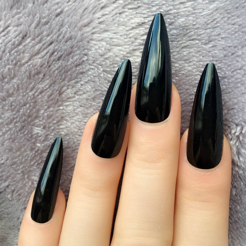 Stiletto Long Fake Nails Black Almond Impress Press On Nails False Artificial Gloss Sharp Nep Nagels With Glue Sticker Nail Pops