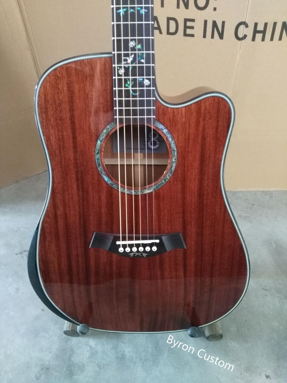 Livraison gratuite guitare professionnelle personnalisée dreadnought style de corps acoustique électrique coupé guitare en acajou massif