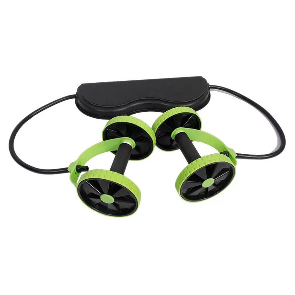 Double Roller Muscle Trainer Abdominal Wheel Energy Resistance Bands Gym Arm Waist Leg Training Fitness  Double Wheel Tensioner