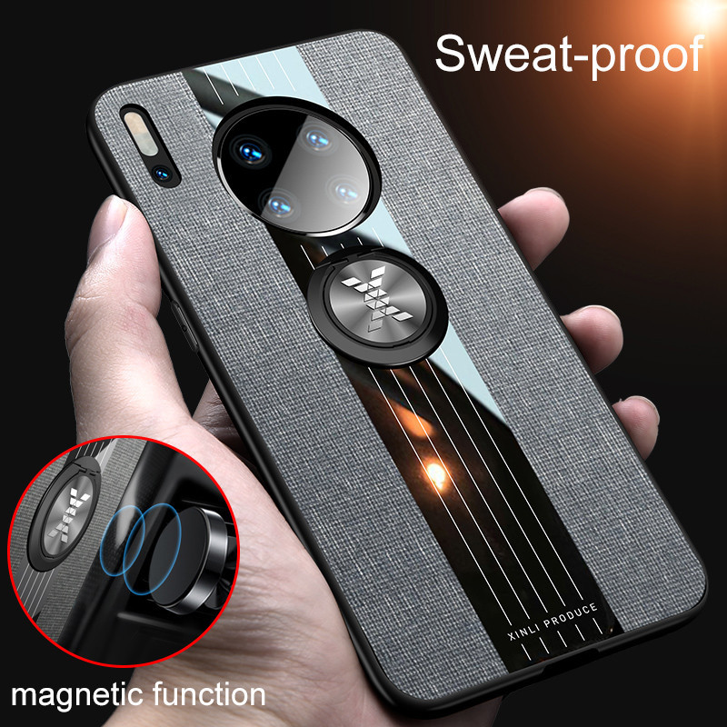 Washable Breathable Fabric Phone Case With Magnetic Ring Holder For Huawei Mate30 Mate 30 Pro