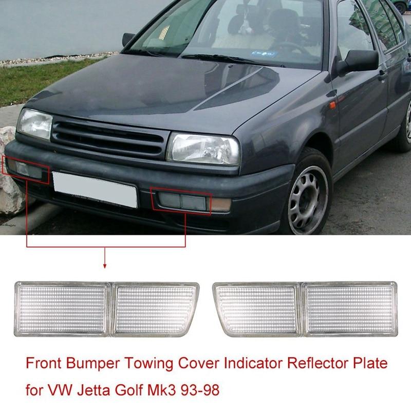 Otomobiller ve Motosikletler'ten Yansıtıcı Şeritler'de Çift ön tampon çekme kapak gösterge reflektör plakası VW Jetta Golf Mk3 1993 1998 title=