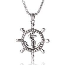 New Long Necklace rudder anchor Pendant Retro Choker DIY stainless steel pendant jewelry BB0433