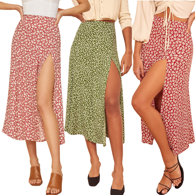 Fashion Floral Skirt Women Summer High Waist Split Beach Casual Midi Skirts Boho Elegant Vacation A Line Skirt Jupe Faldas 5