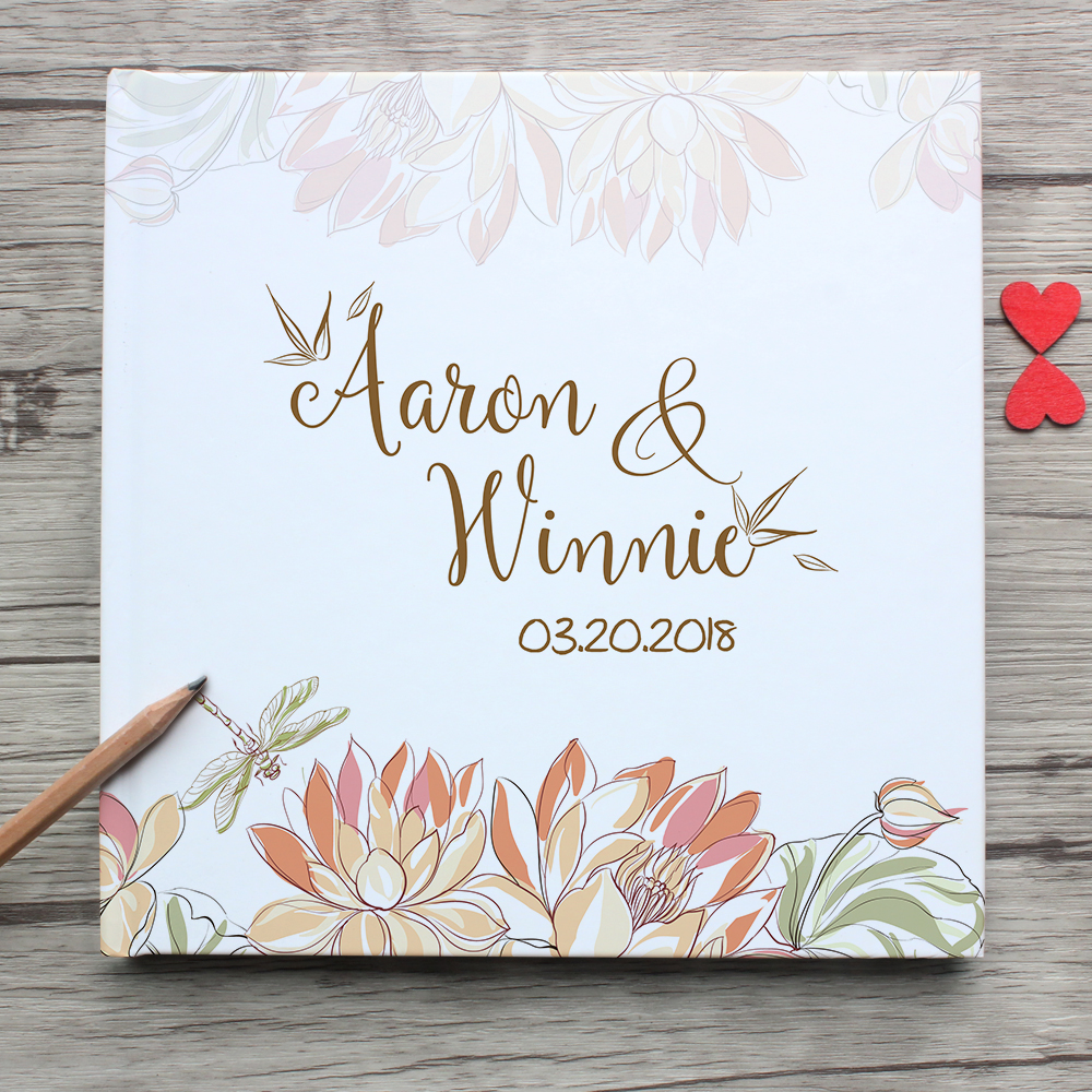 Modern White Wedding Guest Book Alternatives Personalized Lotus And Dragonfly Guestbook For Guest Sign White Wedding Decor