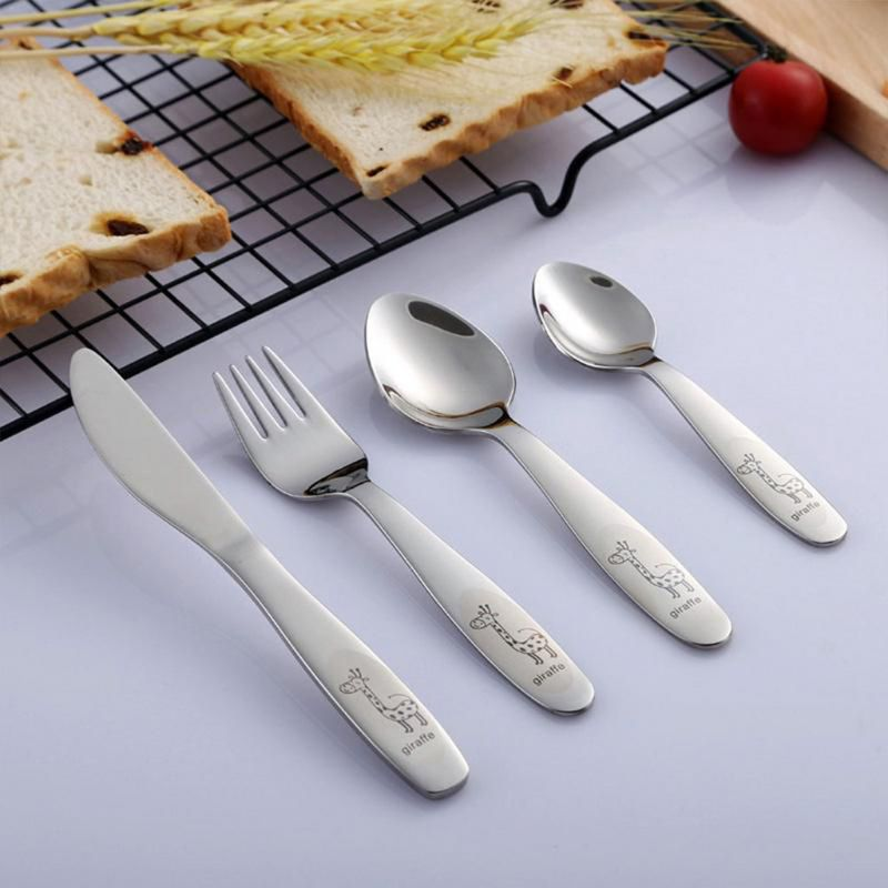 4PCS/pack 304 Stainless Steel Kids Cutlery Cartoon Pattern Carving Children Tableware Western-style Spoon Fork Set Baby Flatware