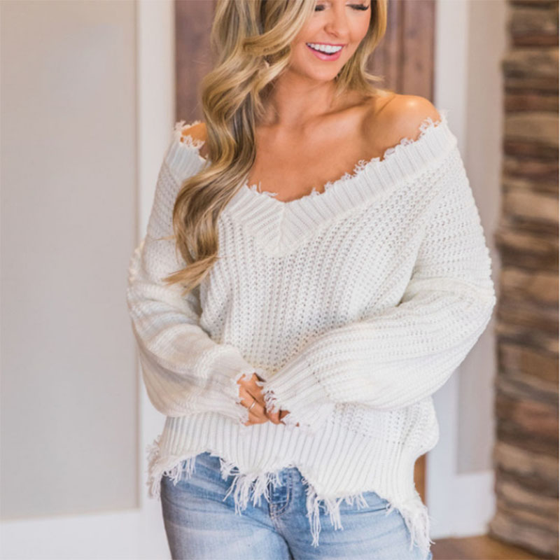 Autumn Winter Women's Sweater Deep V-neck Open Navel Fringe Fashion Sexy Casual Atmosphere Women's Sweater Solid Color Clothing