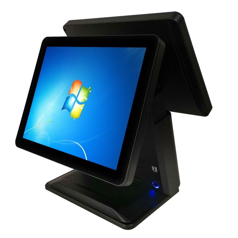 Monitor lcd duplo de 15 polegadas, sistema de pos, tela sensível ao toque, registrador de dinheiro para restaurante & hotel pos terminal