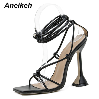 Aneikeh Fashion 2021NEW Summer Women's Sandals PU Lace-Up Thin High Cover Heel Shallow Mature Serpentine Dance Solid Pumps 35-40 9