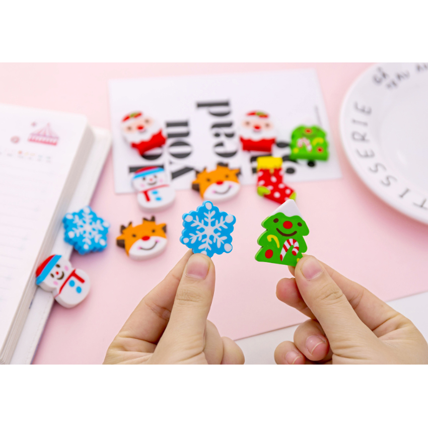 6pcs/lot Cartoon Snowflake Christmas Eraser Nontoxic Students Gift Prize Children Learning Toys School Office Supplies