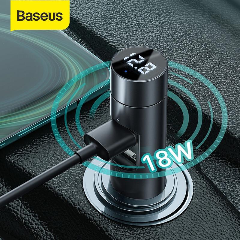 Baseus FM transmetteur Bluetooth modulateur voiture mains libres récepteur Audio voiture 18W 2 USB chargeur rapide adaptateur Aux MP3 lecteur Radio