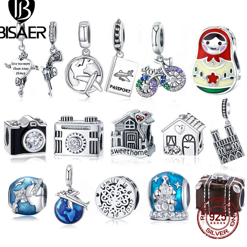 BISAER 925 Sterling Silver Eiffel Tower House Bicyle Bike Earth World Travel Pendant Fit Charms Bracelet Jewelry Making GXC010 image