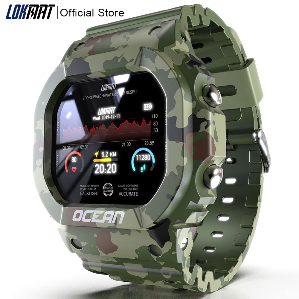 LOKMAT Ocean Smart Watch Men Fitness Tracker Blood Pressure Message Push Heart Rate Monitor Clock Smartwatch Women For Android
