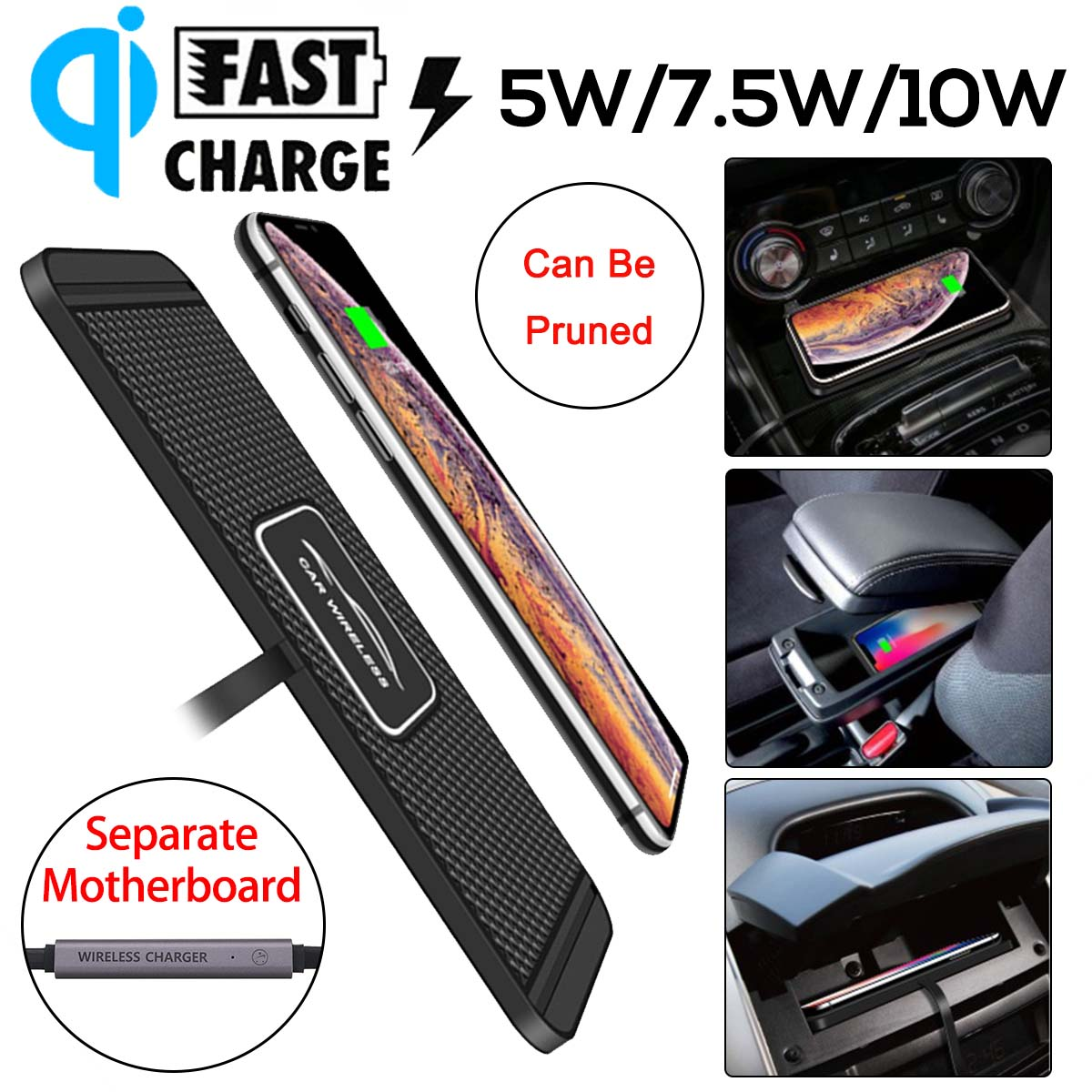 Fast Charging <font><b>10W</b></font> Qi Wireless <font><b>Charger</b></font> Pad for iPhone Docking Station Phone <font><b>Charger</b></font> for Xiaomi Non-slip Mat Car Dashboard Holder image